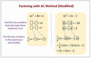 Factoring Using The Ac Method  Examples  Solutions
