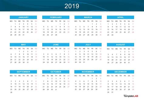 Free Printable Monthly Calendar for Year 2019