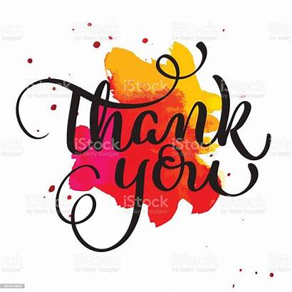 Thank Calligraphy Hand Word Vector Text Watercolor