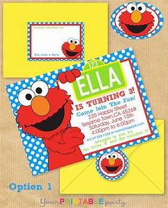 elmo party invitation 5x7 with address by yourprintableparty With elmo template for invitations