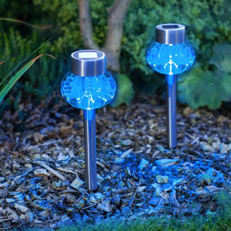 solar xmas lights for sale 2 blue led stainless steel solar stake lights lights4fun