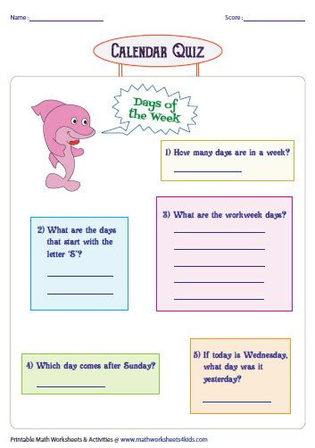 days months and seasons charts and worksheets 832 | quiz days large