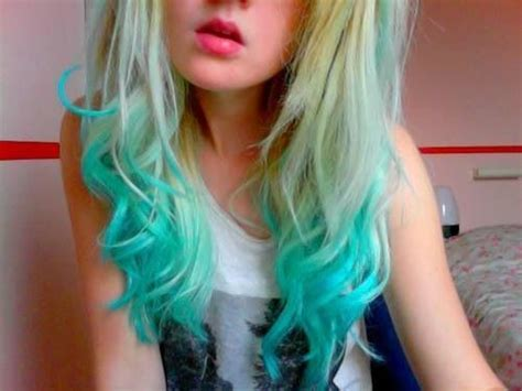 Blonde With Teal Tips Colored Hair Pinterest