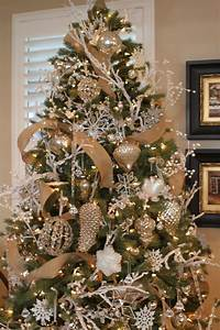 Christmas, Tree, With, A, Touch, Of, Gold, And, White