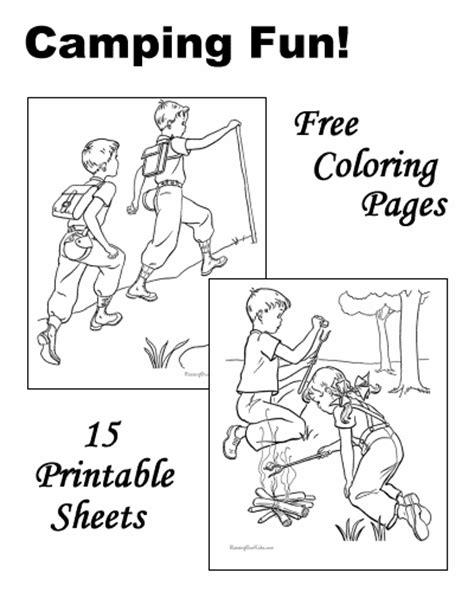 camping coloring pages sheets  pictures