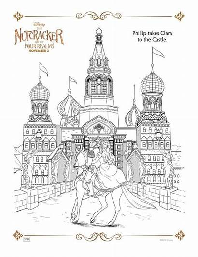Nutcracker Coloring Pages Christmas Four Disney Castle