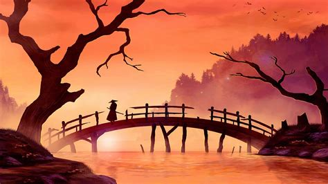 samurai  bridge japan painting art  ultrahd