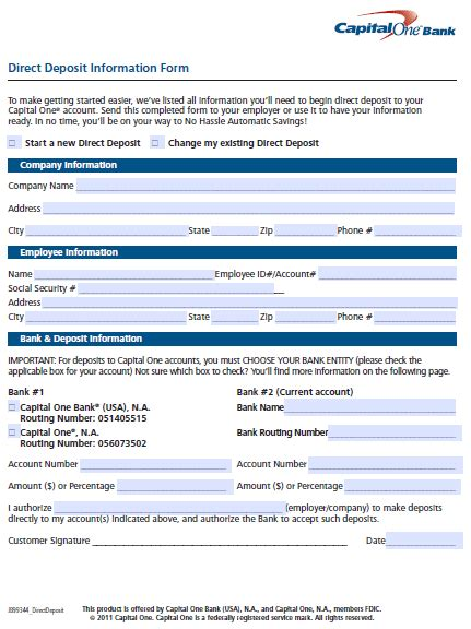 capital   direct deposit authorization form