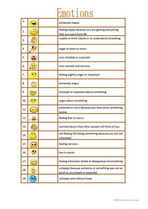 adjectives to describe emotions worksheet free esl