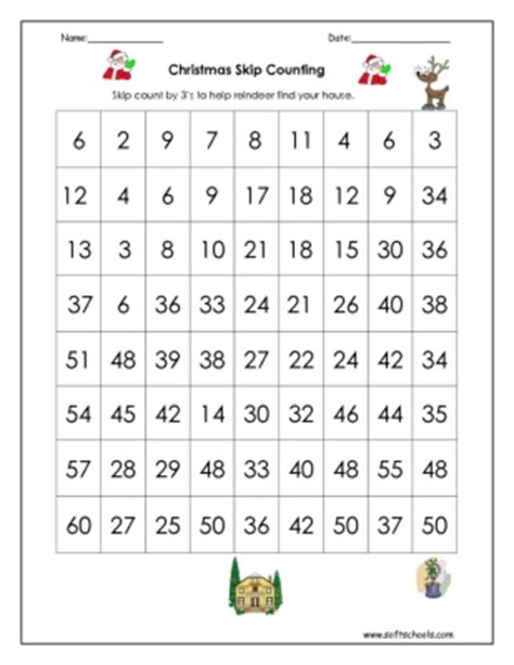 christmas skip counting by 3 worksheet
