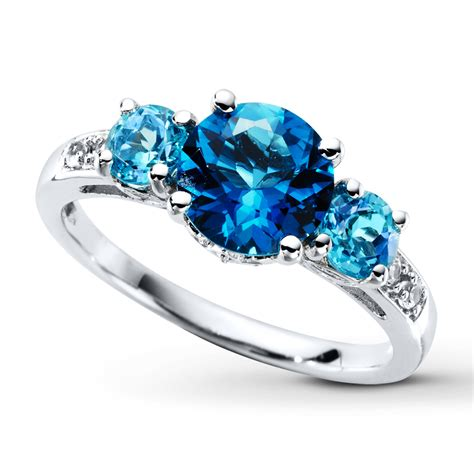 blue ring blue topaz ring lab created white sapphires sterling