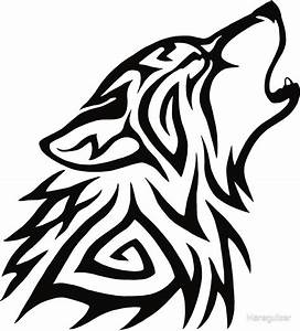 """""""Tribal Wolf Howl"""" Stickers by Hareguizer 