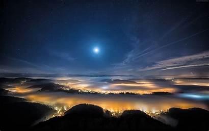Sky Night Moon Stars Earth Space Clouds
