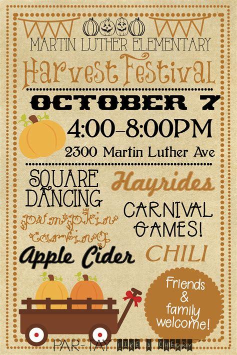 harvest festival invitation party   cherry