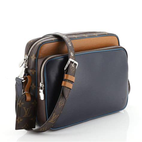 louis vuitton nil slim epi leather  pm blue  orange monogram canvas messenger bag tradesy
