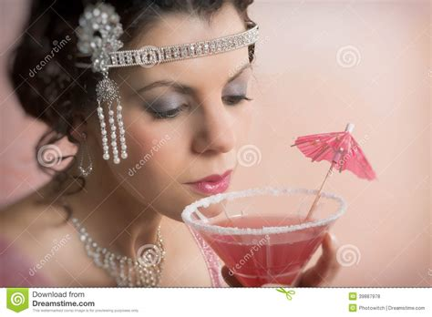1920s Vintage Woman Drinking Cocktail Stock Photo Image