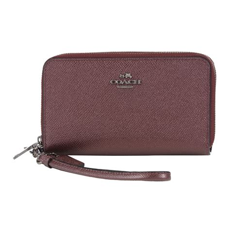 phone wallet coach zip leather phone wallet in purple lyst