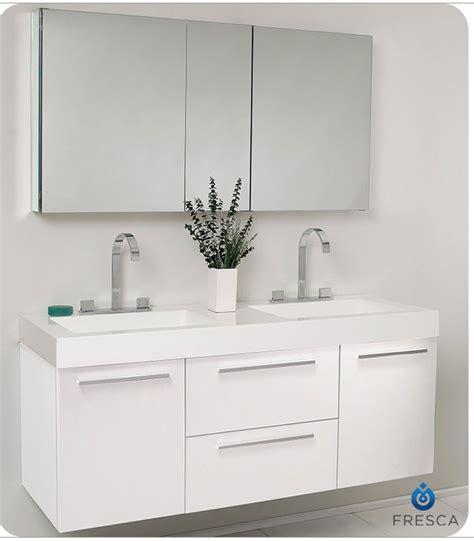 "Fresca Opulento 54"" White Modern Double Sink Bathroom"