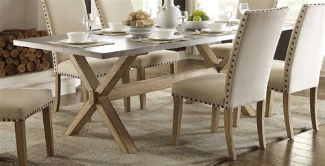 homelegance luella x trestle dining table weathered oak