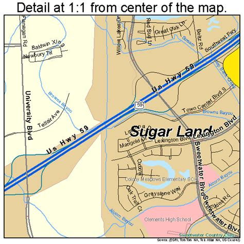sugar land tx sugar land texas street map 4870808