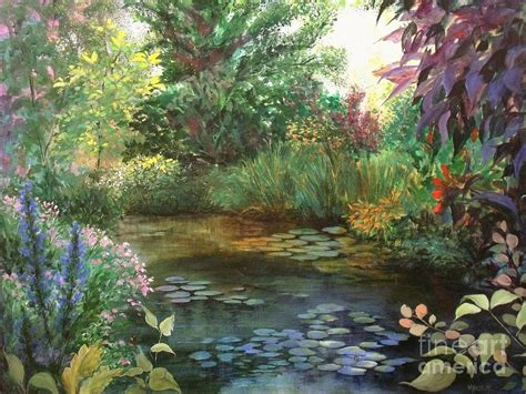Jardin De Giverny Canvas by Jardin Giverny Painting By Madeleine Holzberg
