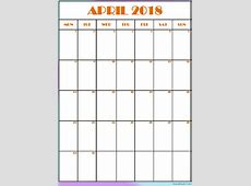Printable April 2018 Calendar Editable Template