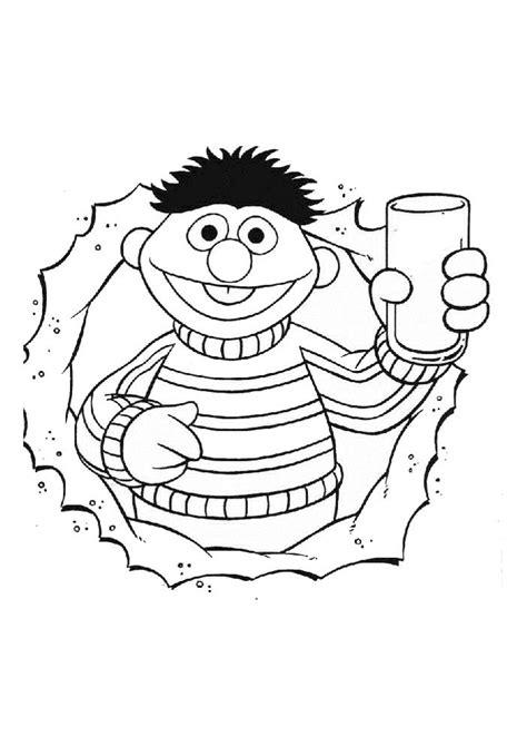 Kleurplaat Proost by Sesamstraat Ernie Heeft Drinken Sesamstraat Kleurplaten