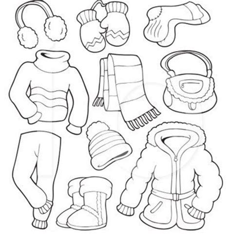 coloring cloth winter clothes coloring page free for coloring
