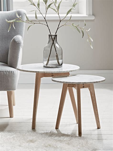 Round nesting coffee tables set of 2, wooden desktop with marble texture end tables for living room, modern side coffee table with solid metal frame for small space. Two Oak & Marble Nested Tables in 2020   Small round side ...