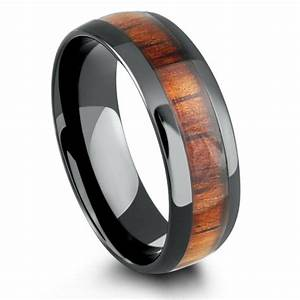 8mm mens wood wedding band crafted out of ceramic koa wood With mens wedding rings wood