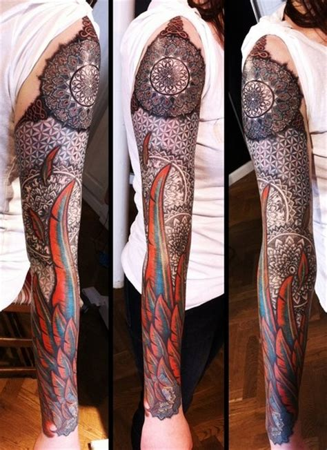 fire feather wing mandala tattoo sleeve  tattoo