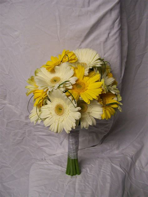 Yellow Gerber Daisy Wedding Bouquets Powell White