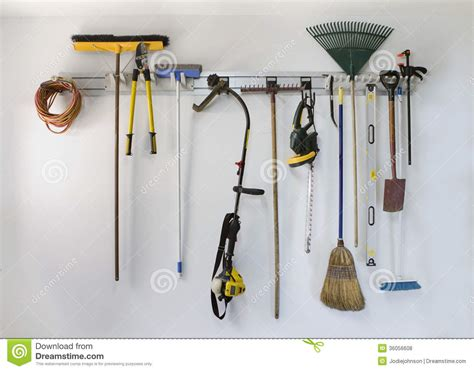 Neat Garage Tool Hanging Storage Stock Photo