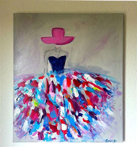 bureau design suedois tableau moderne femme robe coloree sur toile 55x46