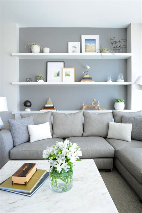 livingroom shelves shelf over sofa contemporary living room benjamin moore street chic shift interiors