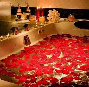 Draw her up a romantic bath with candles and rose petals for Sexy pic in bathroom