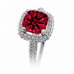 25 carat cushion cut designer ruby and diamond halo With cushion cut diamond wedding ring sets