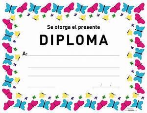 Diploma de mariposas para imprimir