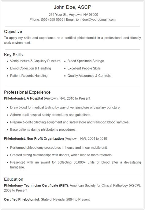 Phlebotomy Resume by Phlebotomist Resume Microdataproject Org