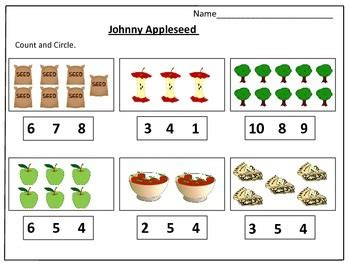 johnny appleseed s counting worksheets 1 20 by learning basket