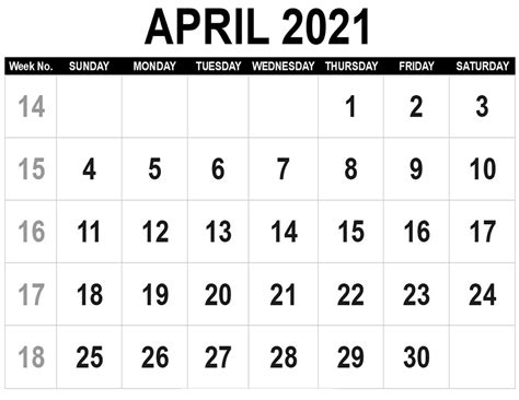 29+ Blank April 2021 Calendar Printable  Background
