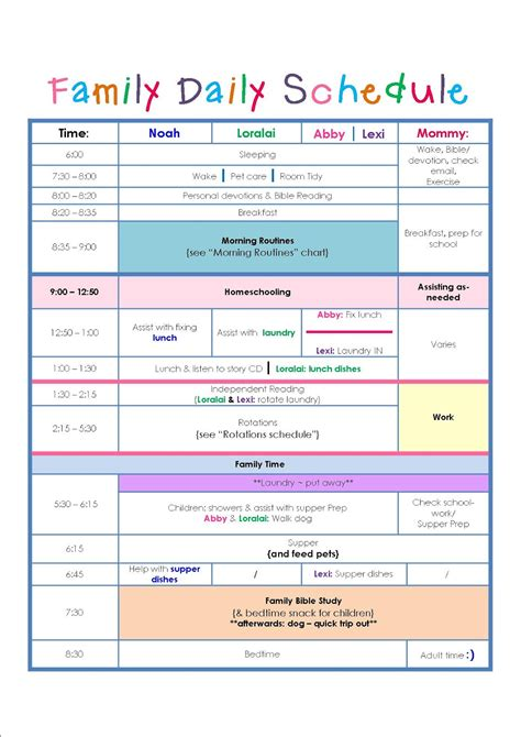 plan daily schedule family daily routine schedule template home schedule