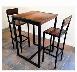 Table Haute Et Tabouret : table et tabourets bois et acier ~ Teatrodelosmanantiales.com Idées de Décoration