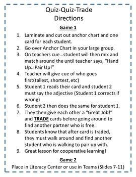 adjectives quiz quiz trade  jenny capps classroom