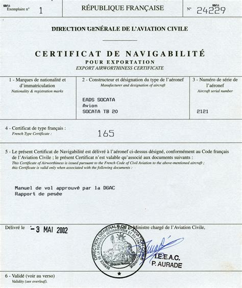 aircraft tb20 noise certificate