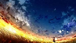 Download, Wallpaper, 3840x2160, Girl, Loneliness, Alone, Night, Moon, Art, Hd, Background