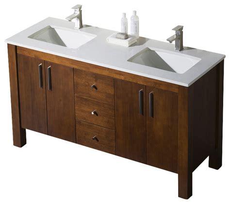 parsons  double sink vanity chestnut white sink white