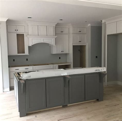 repose gray kitchen cabinets walls sw repose gray island gauntlet gray satin white 199