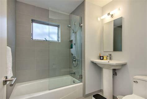 half glass shower door for bathtub half glass door midcentury bathroom san francisco