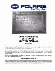 2008 Polaris Ranger 4x4 500 Efi Service Repair Manual